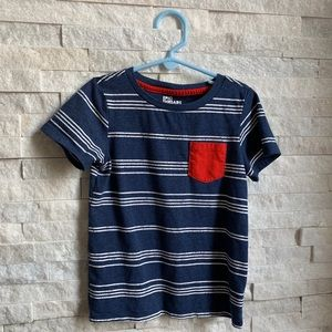 Boys Blue & White Striped T-Shirt with Red Pocket